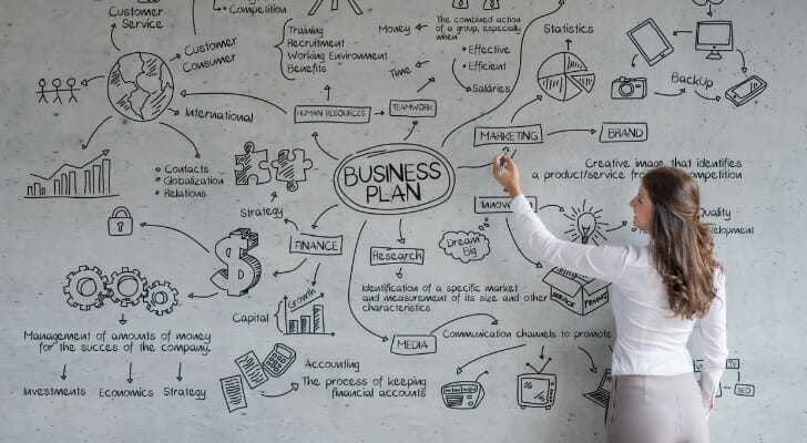 Woman works on a business plan