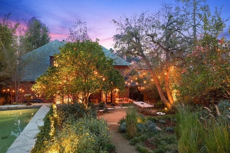 whimsical backyard of Walton Goggins' home in Los Angeles