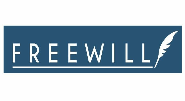 Image shows the FreeWill logo in white lettering against a blue background, with a graphic of a quill.